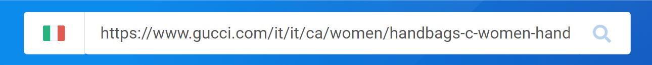 Puoi inserire un intero URL nella barra di ricerca del Toolbox SISTRIX