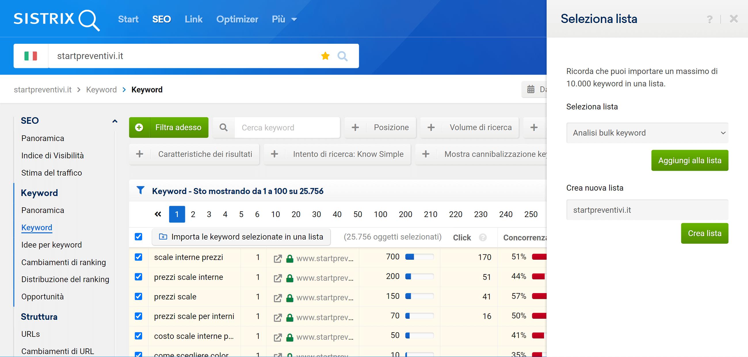 Come aggiungere delle keyword di una tabella in una lista su SISTRIX