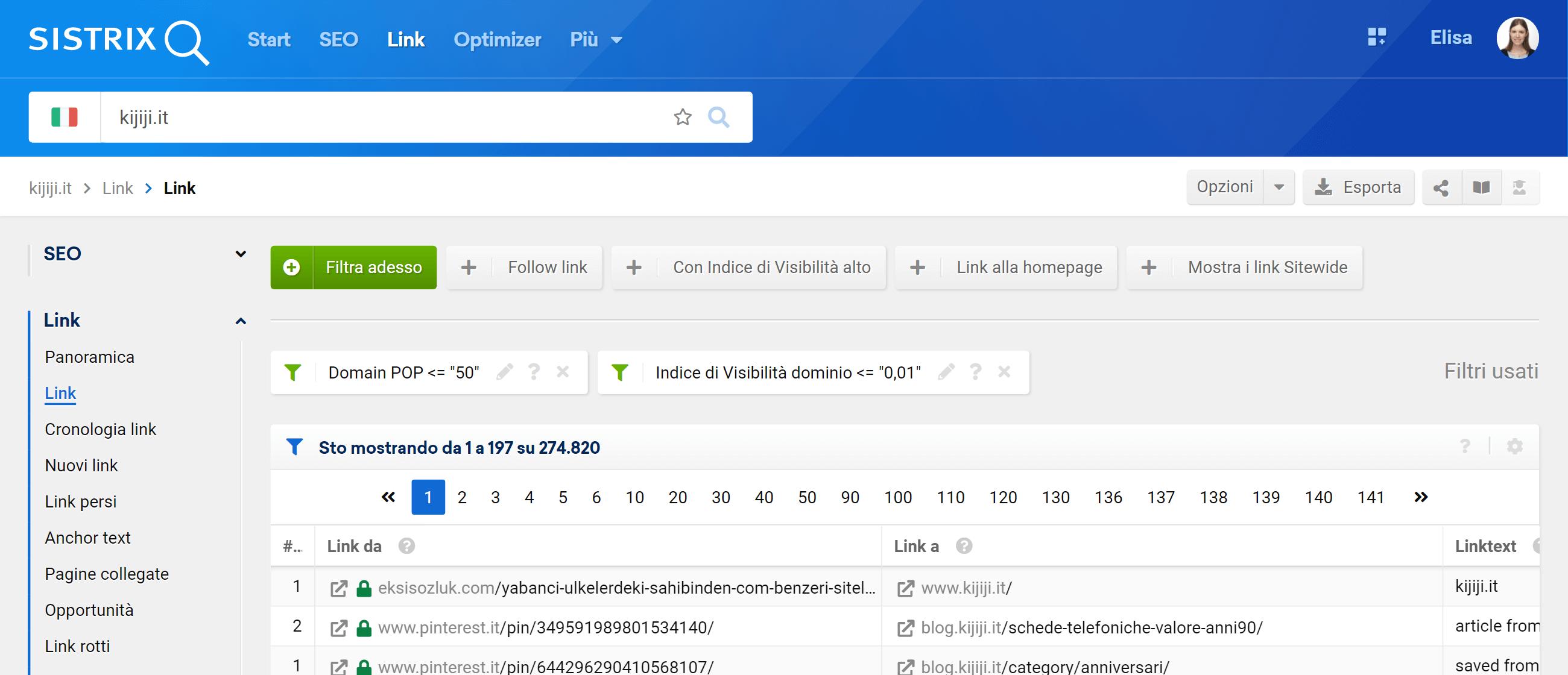 Filtri combinabili nella tabella dei link
