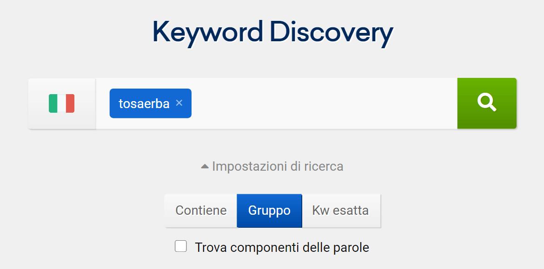 Inizio di un progetto di Keyword Discovery su SISTRIX
