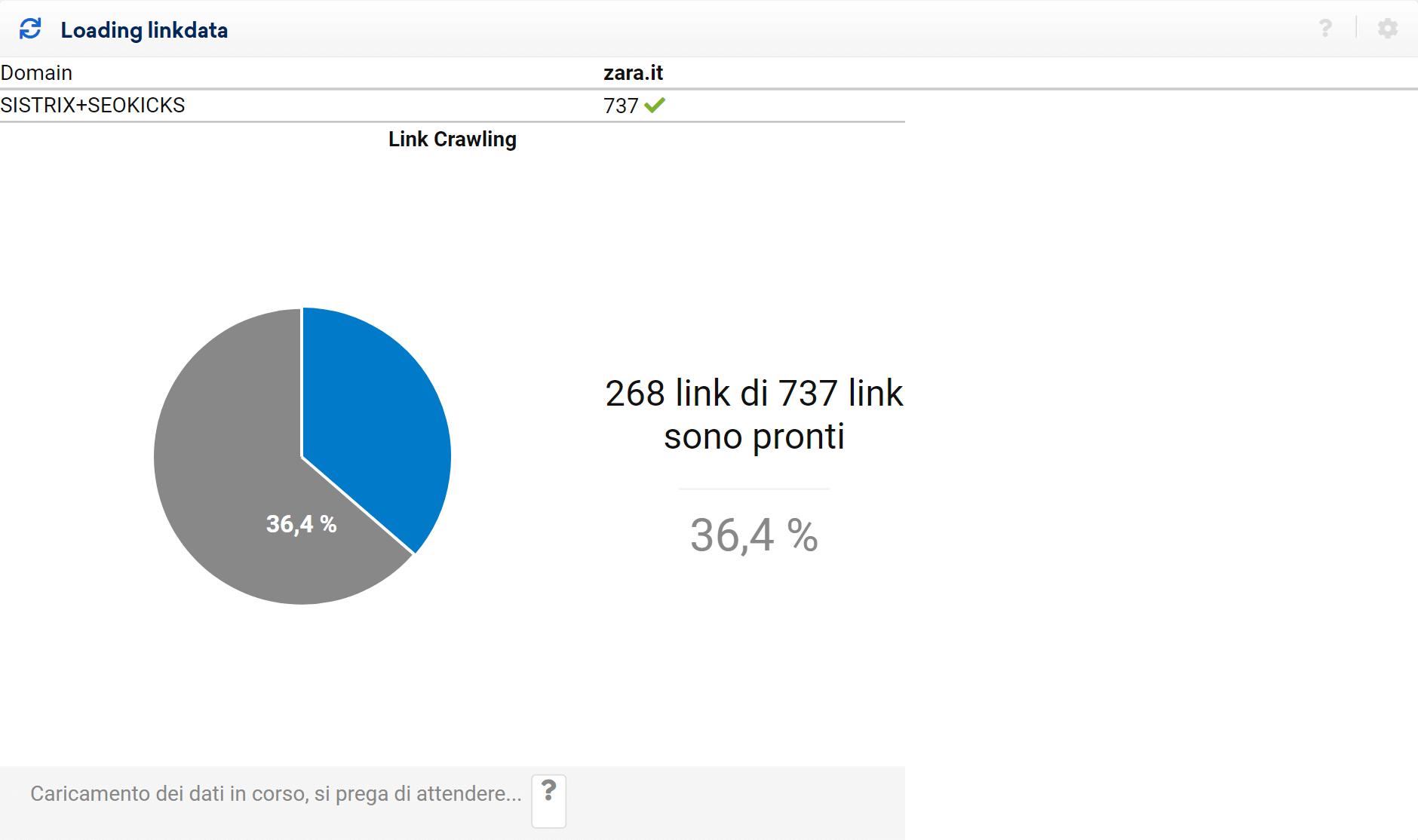 Inizio scansione di un progetto LinkRating
