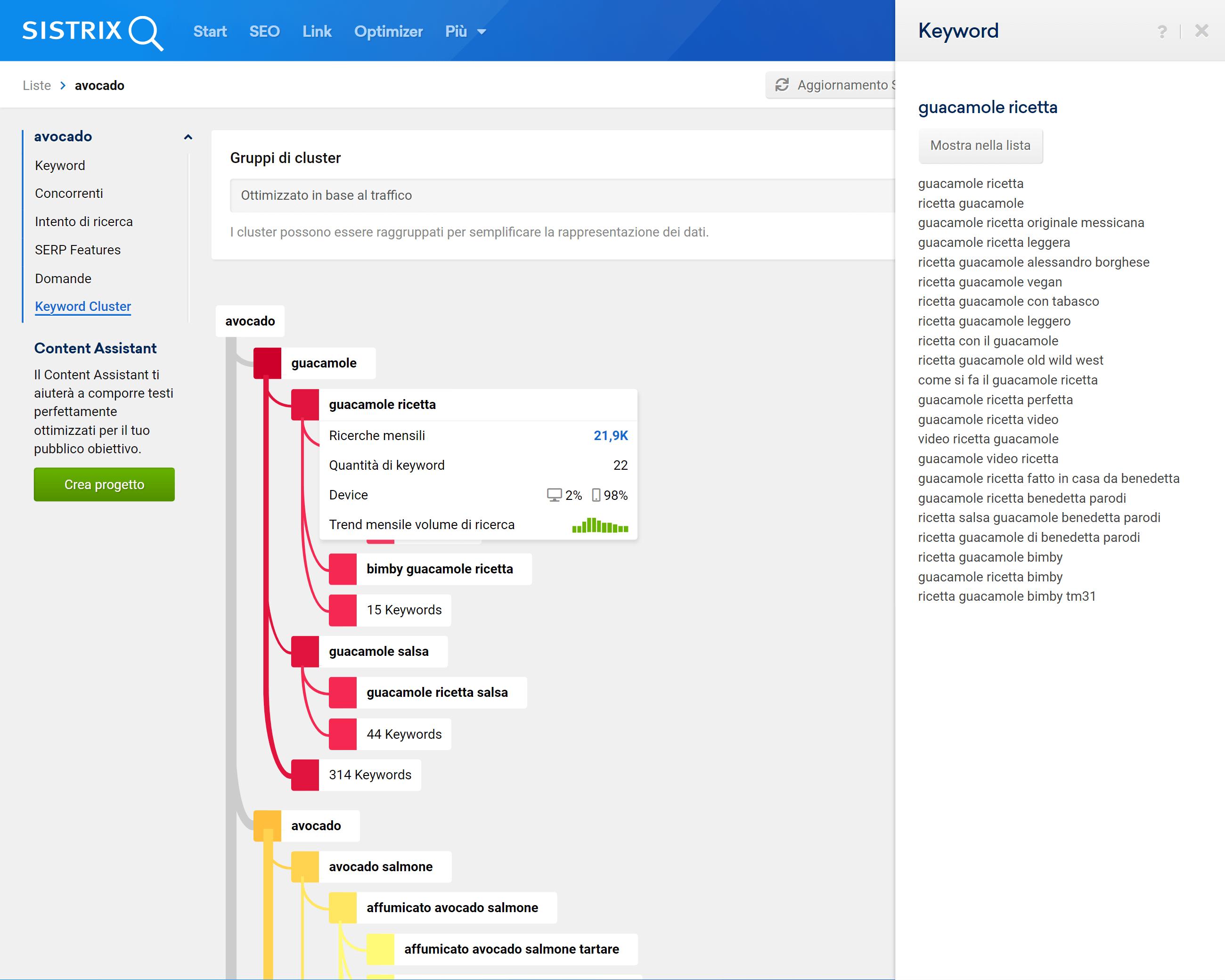 Esempio di cluster di una lista su SISTRIX
