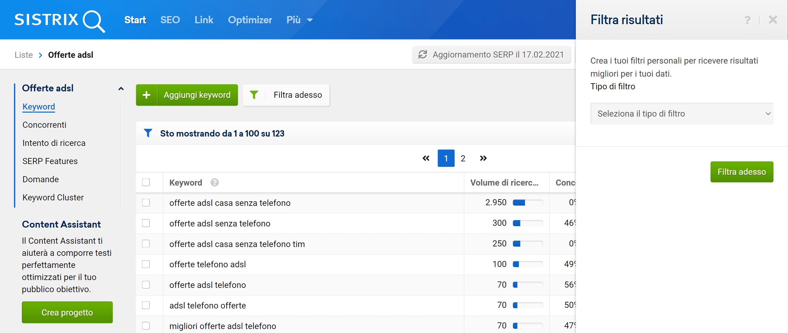 Come aggiungere un filtro ad una lista nel Toolbox SISTRIX