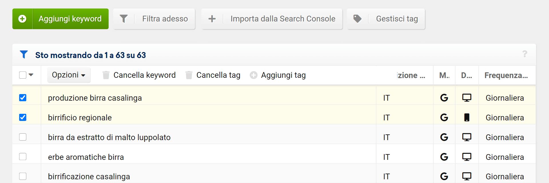 Aggiungere nuovi tag in un progetto Optimizer
