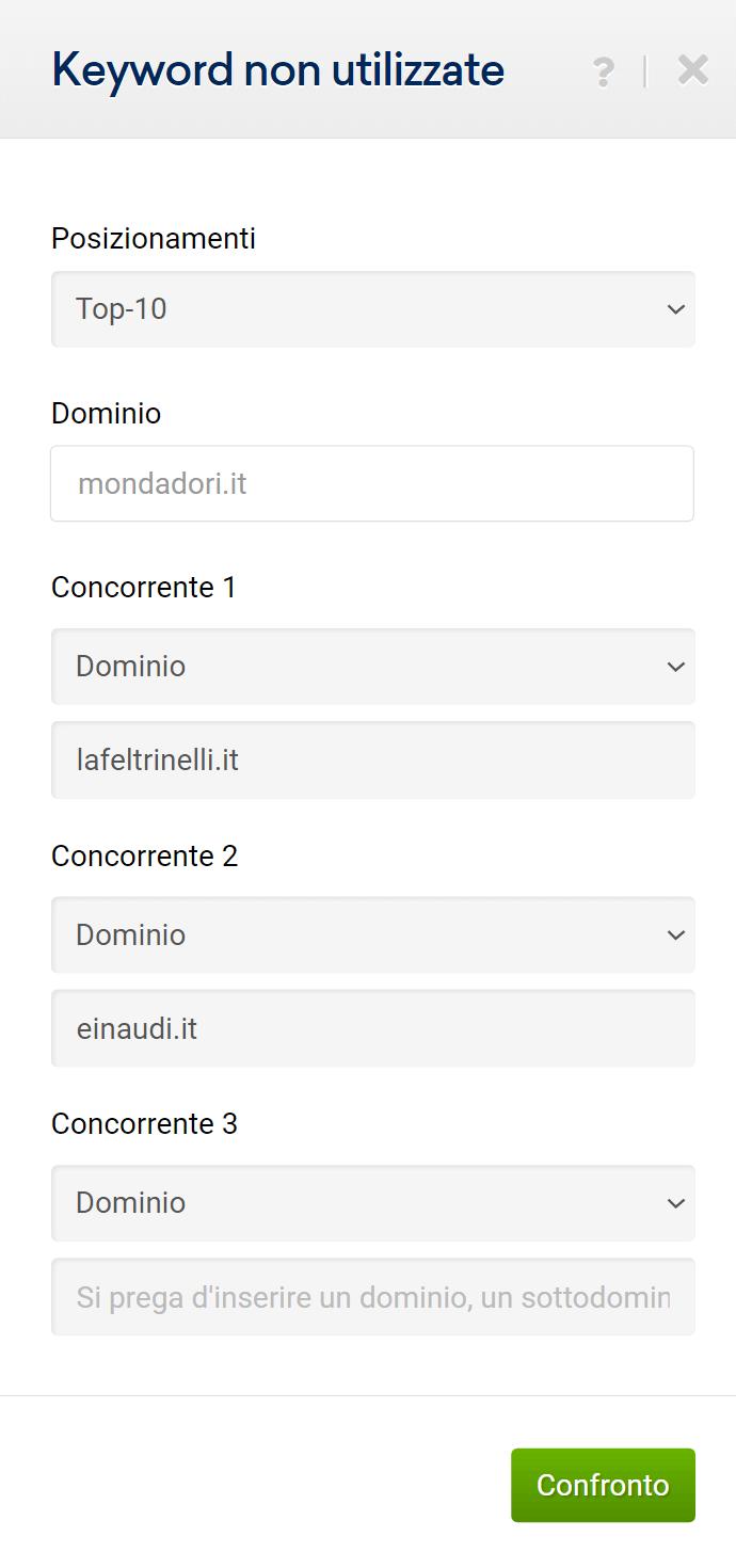 """Finestra di input della sezione """"keyword non utilizzate"""""""