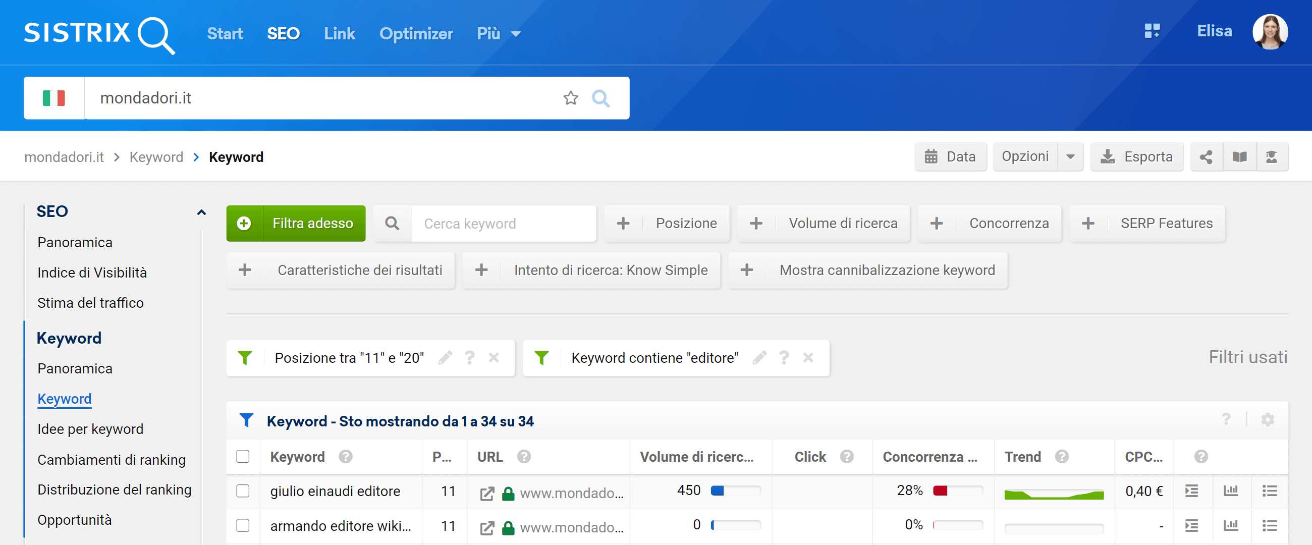 Sezione keyword con filtri