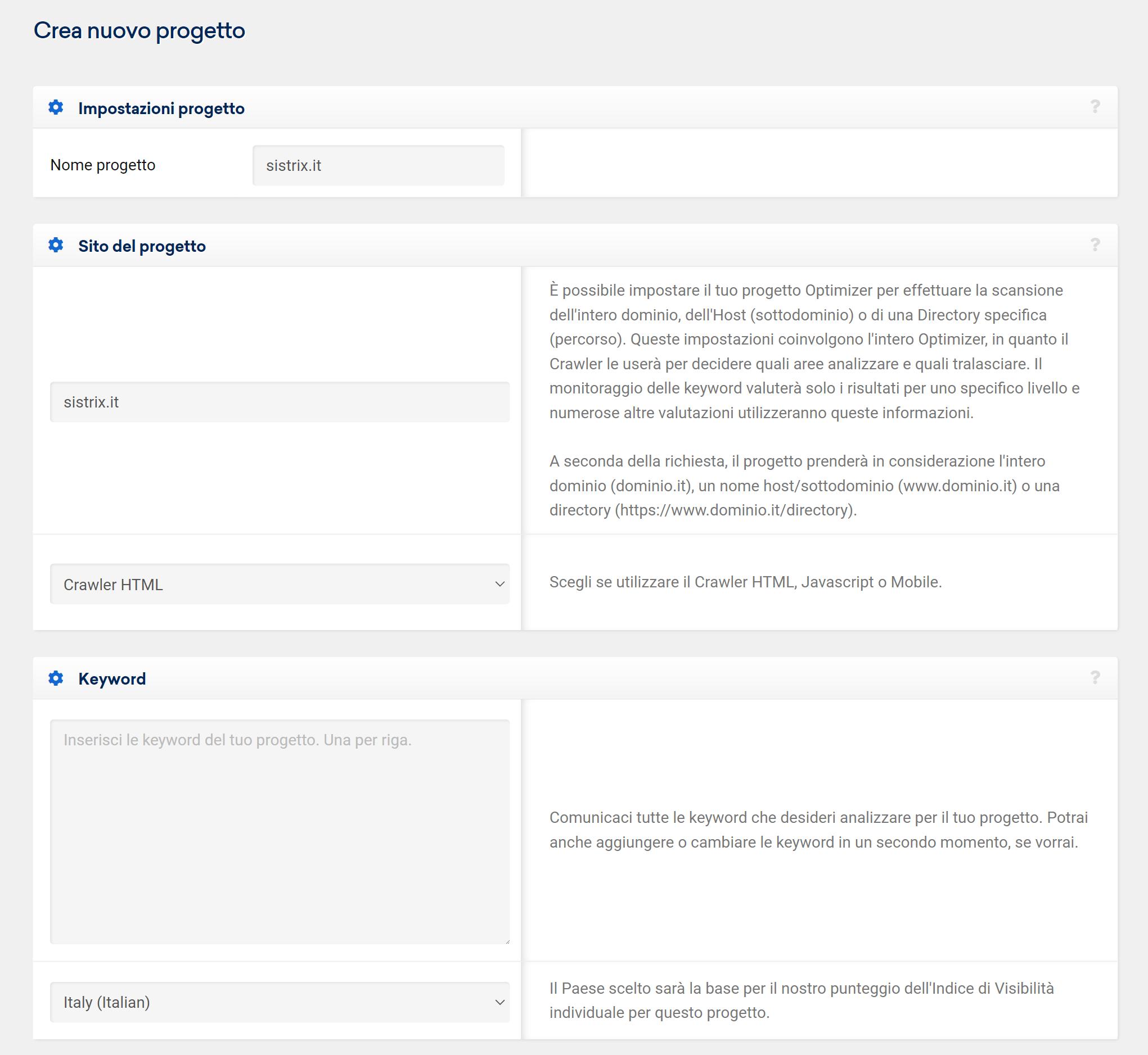 Nome e descrizione progetto Optimizer