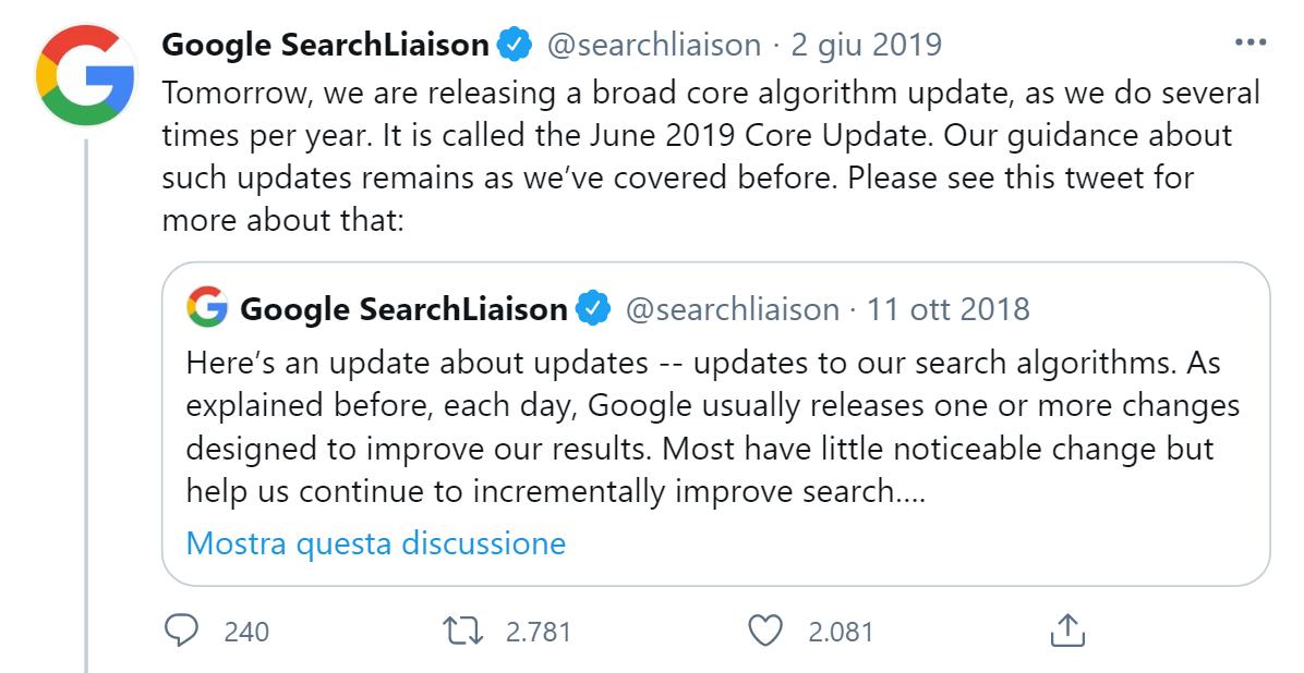 Annuncio del Core Update del 2019