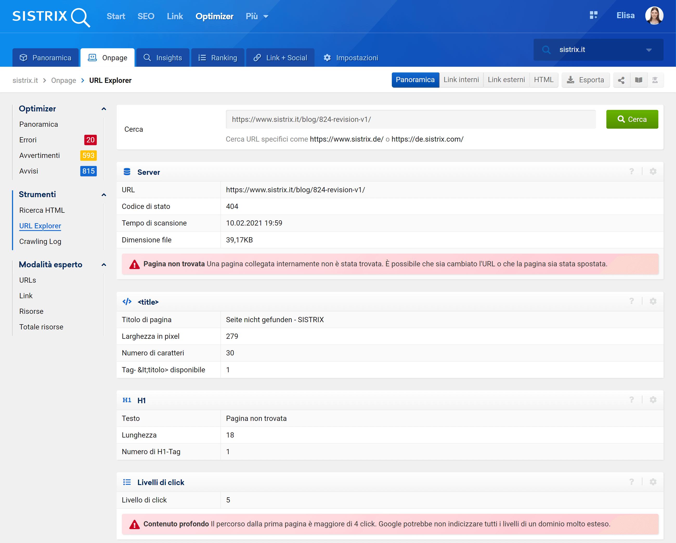 """Sezione """"URL explorer"""""""