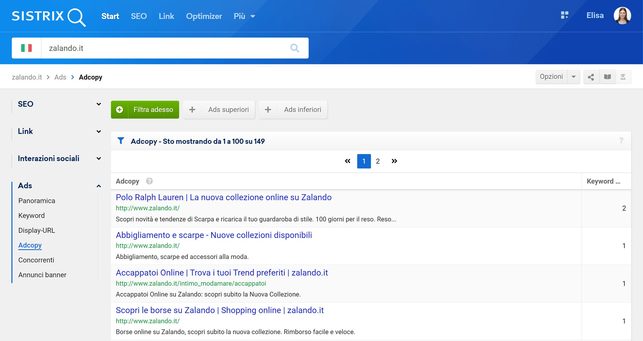 Sezione degli AdCopy nel modulo Ads