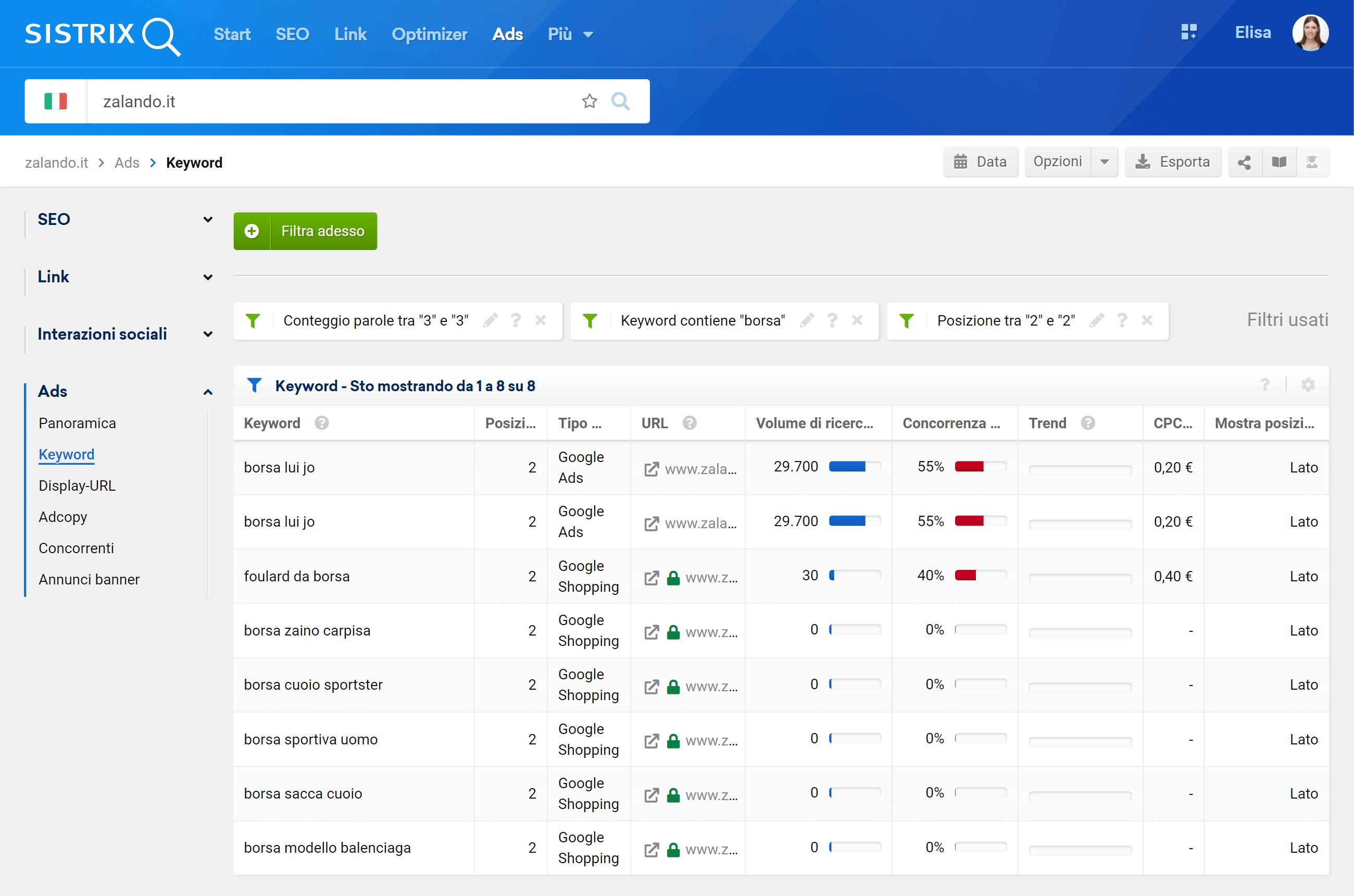 Più filtri nella tabella Ads