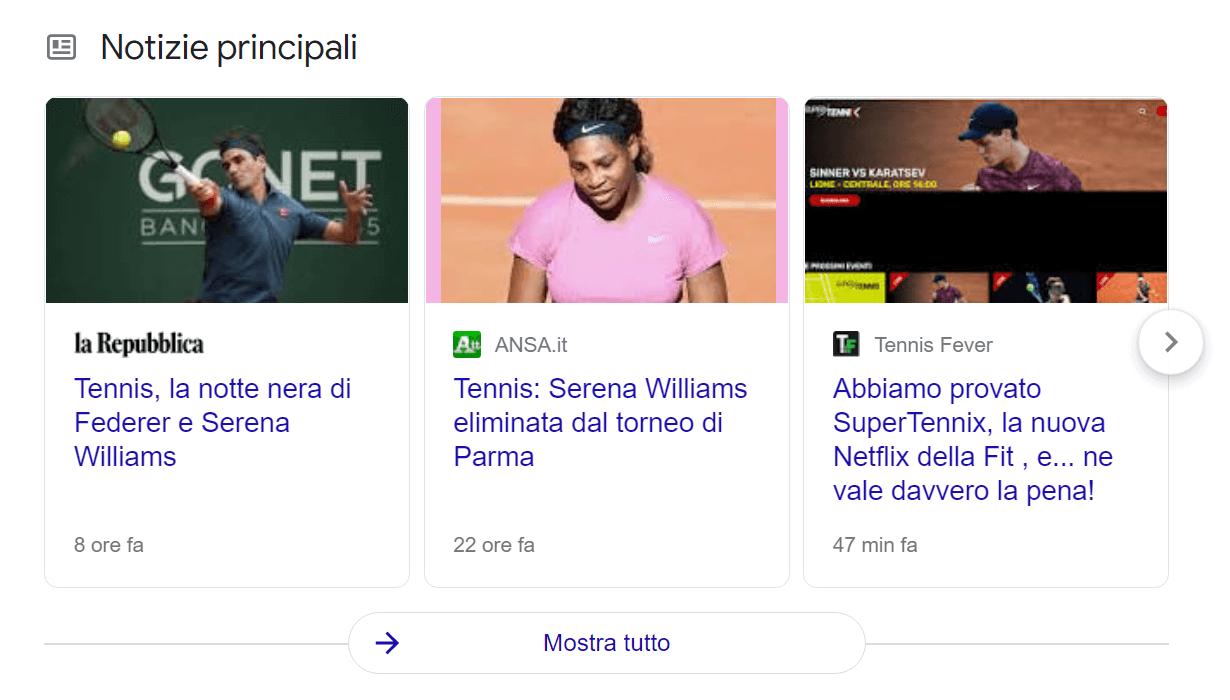 Esempio di vertical per Google News