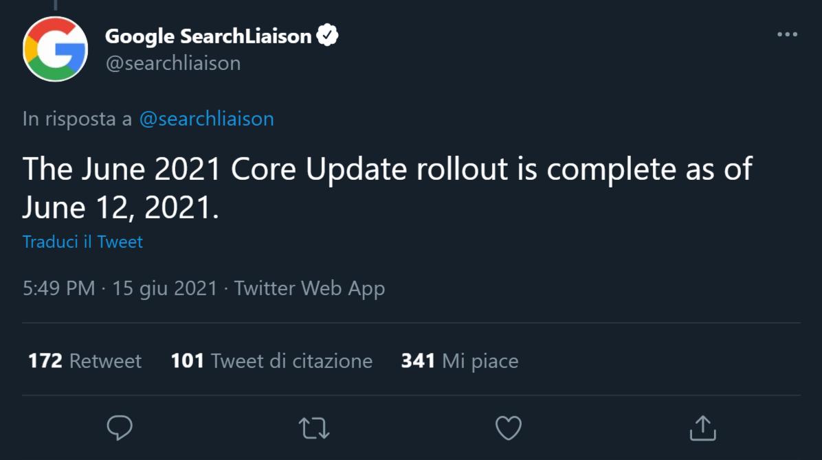 Tweet in cui Google annuncia la fine del Core Update di giugno 2021