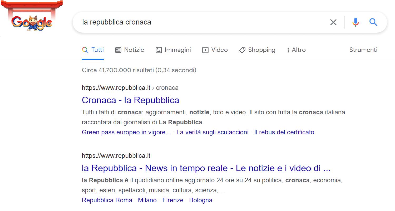Esempio di query website