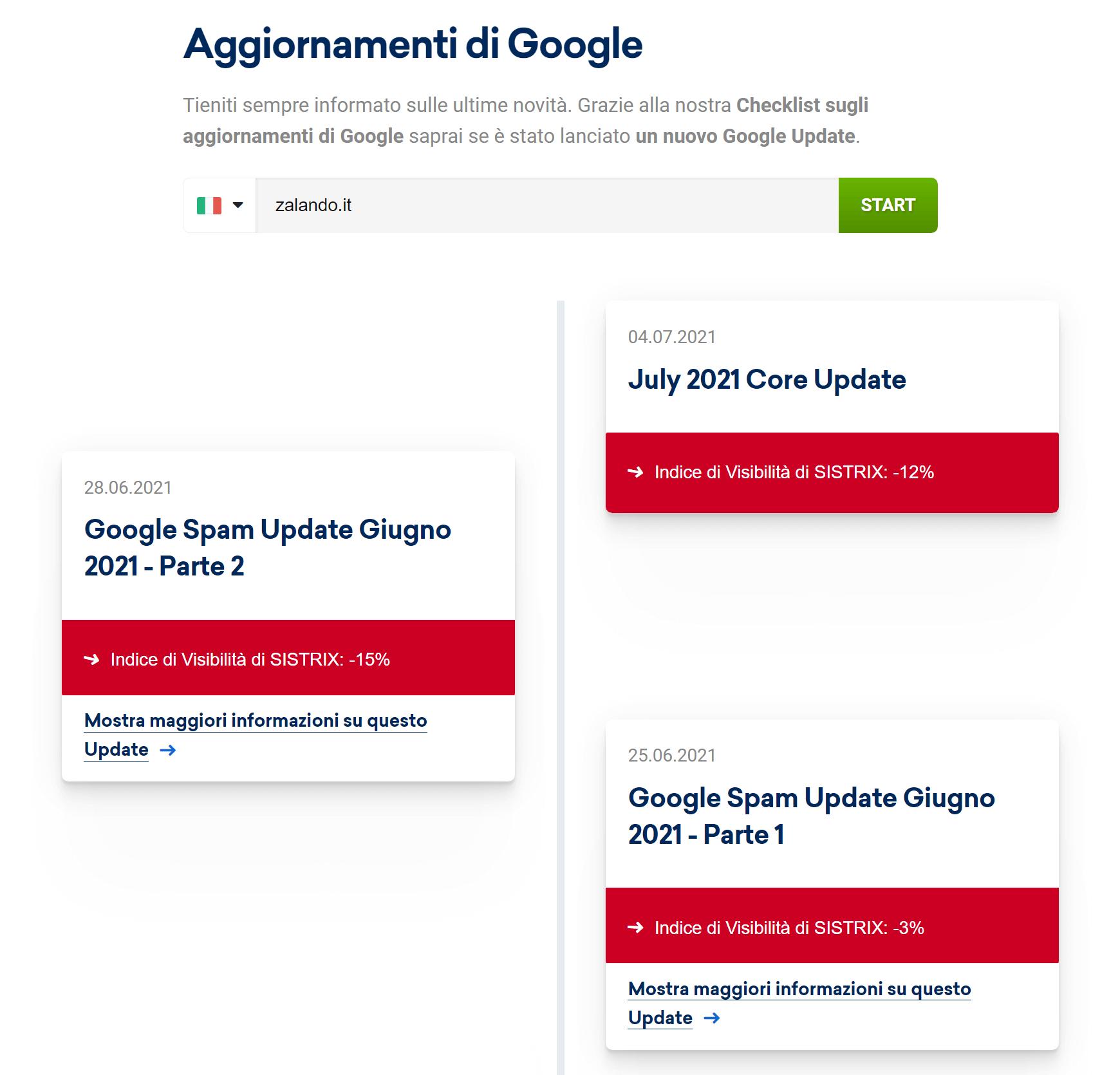 Lista dei Google Update