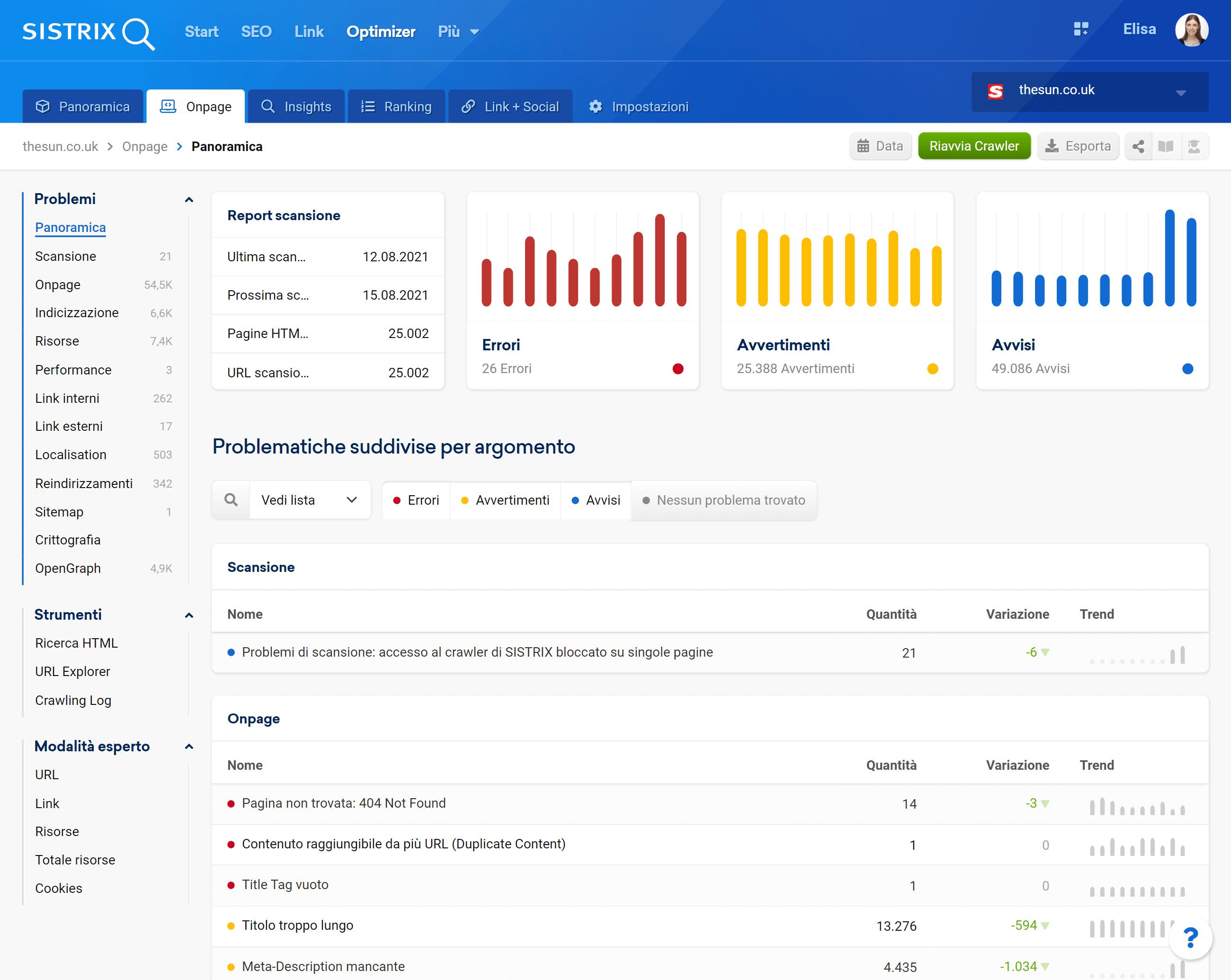 Nuova interfaccia Onpage Check Optimizer