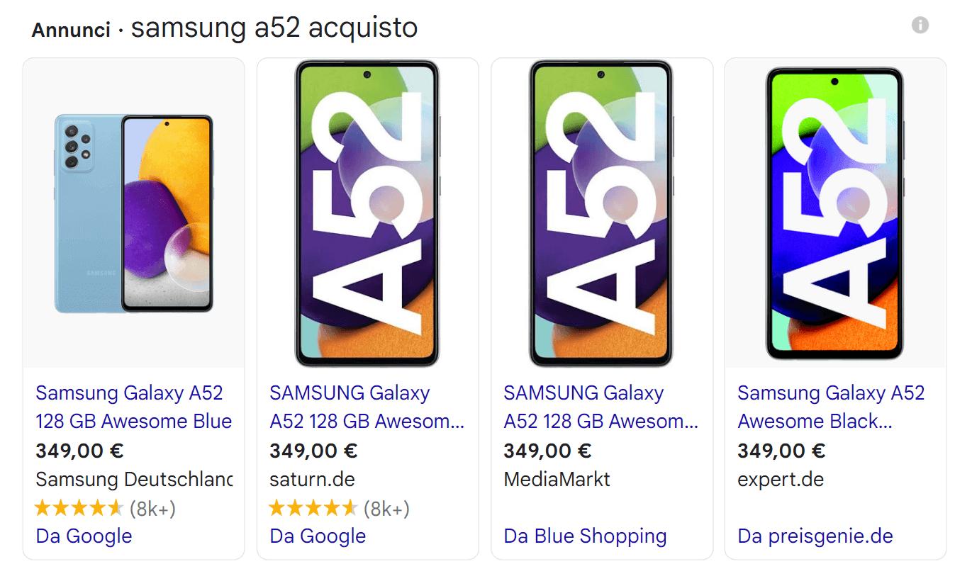 Esempio di Google Shopping