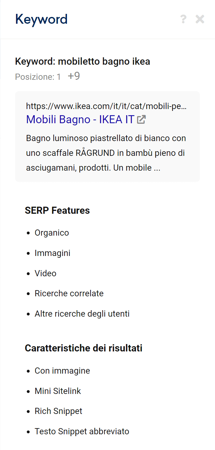 Maggiori informazioni sulle SERP features di un risultato