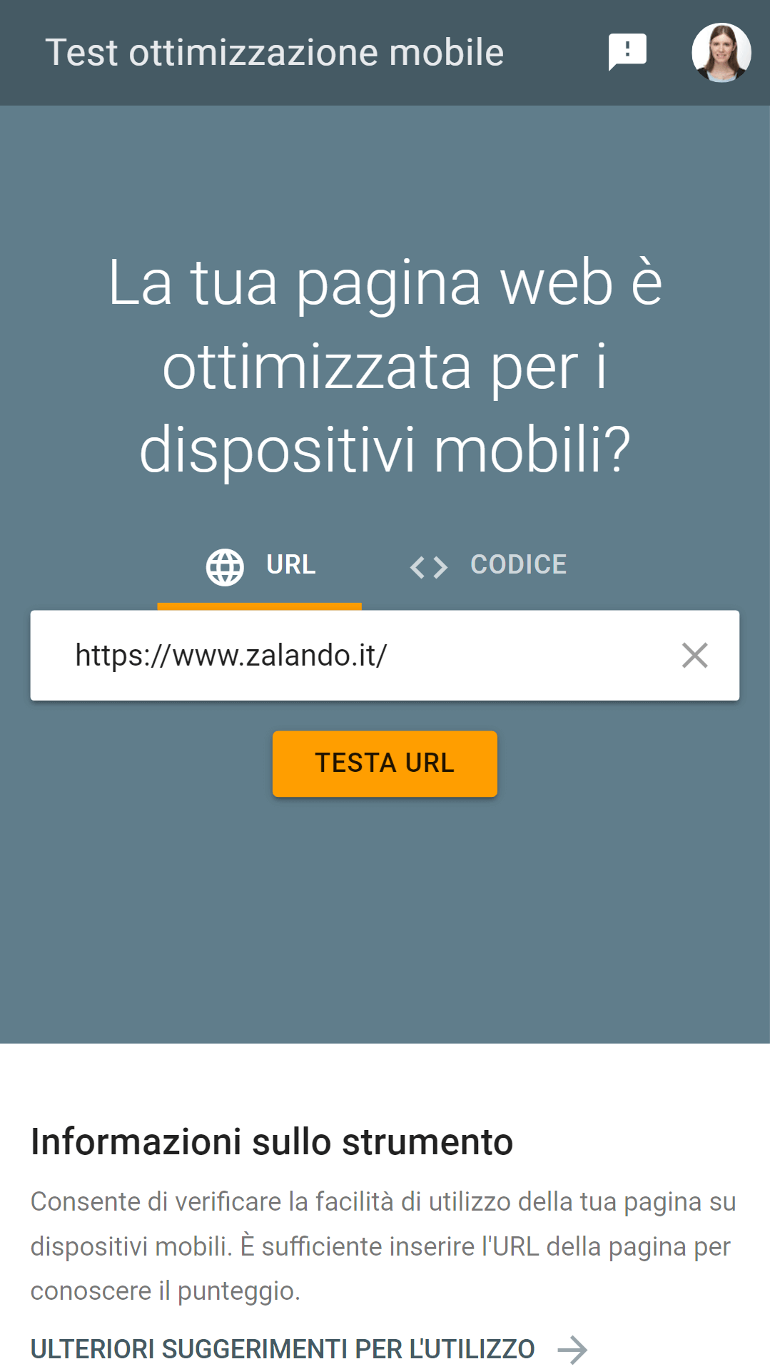 Test di ottimizzazione mobile di Google con URL