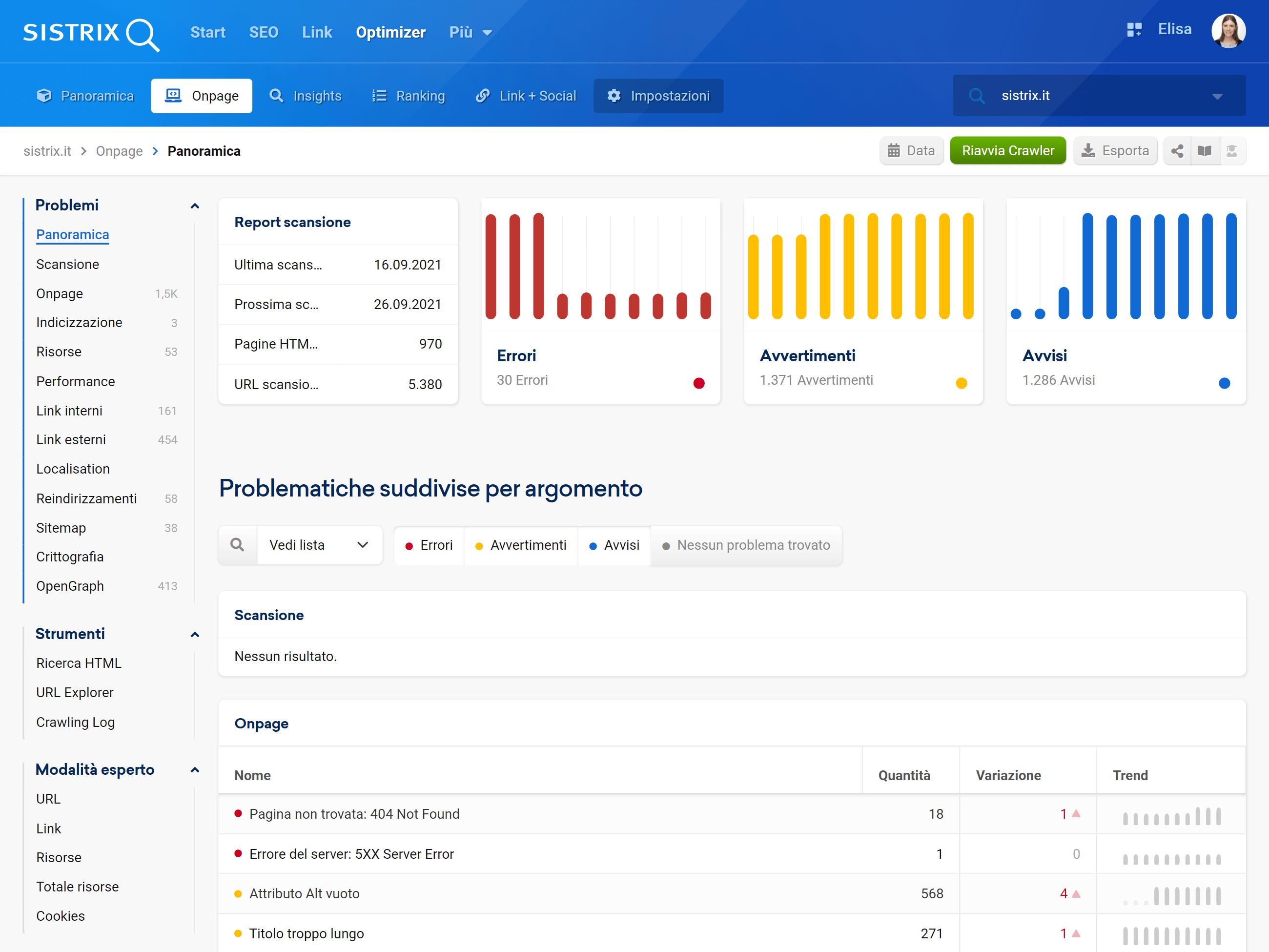 Onpage Audit nell'Optimizer SISTRIX