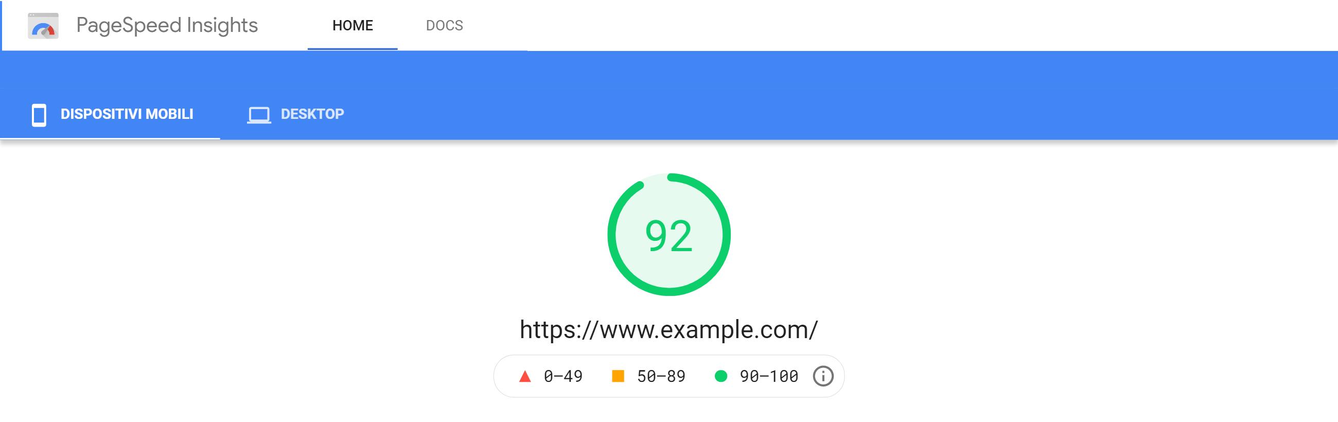 PageSpeed score di una pagina d'esempio